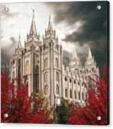 Salt Lake Temple - A Light in the Storm - cropped Acrylic Print