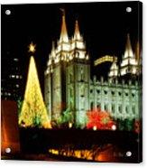 Salt Lake Temple Christmas Tree Acrylic Print by La Rae  Roberts