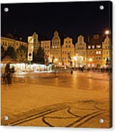 Salt Square In Wroclaw At Night Acrylic Print