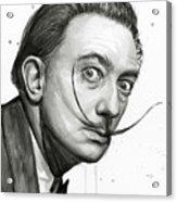 Salvador Dali Portrait Black And White Watercolor Acrylic Print