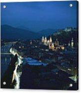 Salzburg, Austria, Night View Acrylic Print by George F. Mobley