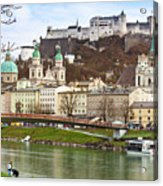 Salzburg City And Fortress  Acrylic Print