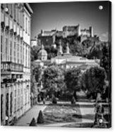 Salzburg Wonderful View To Salzburg Fortress Monochrome Acrylic Print