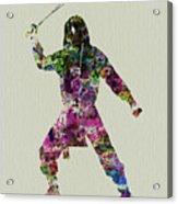 Samurai With A Sword Acrylic Print by Naxart Studio
