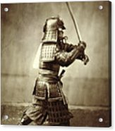 Samurai With Raised Sword Acrylic Print by F Beato