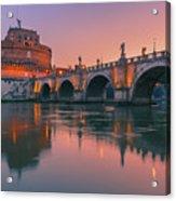 San Angelo Bridge And Castel Sant Angelo Acrylic Print