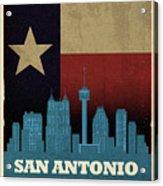 San Antonio City Skyline State Flag Of Texas Art Poster Series 022 Acrylic Print