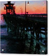 San Clemente Pier Sunset Acrylic Print