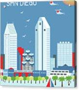 San Diego California Vertical Skyline Acrylic Print