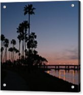 San Diego Sunset With Palm Trees Acrylic Print