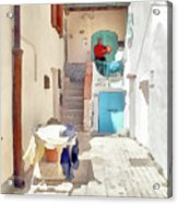San Felice Circeo Man Puts On Clothes Acrylic Print