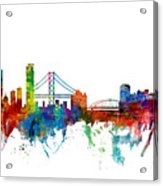 San Francisco And Pittsburgh Skylines Mashup Acrylic Print