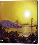 San Francisco Bay In Golden Glow Acrylic Print