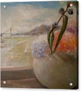 San Francisco Bay With Floral Acrylic Print