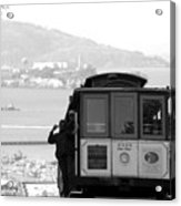 San Francisco Cable Car With Alcatraz Acrylic Print by Shane Kelly