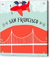 San Francisco California Vertical Scene - Bird In Plane Over San Francisco Acrylic Print