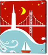 San Francisco California Vertical Scene - East Bay Bridge And Boat Acrylic Print