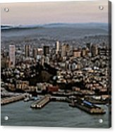San Francisco City Skyline Panorama At Sunset Aerial Acrylic Print