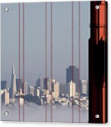 San Francisco Skyline From Golden Gate Bridge Acrylic Print by Mona T. Brooks