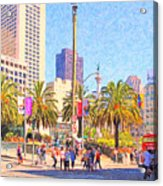 San Francisco Union Square Acrylic Print by Wingsdomain Art and Photography