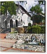 San Luis Mission Fountain Acrylic Print