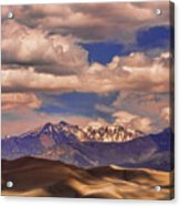 Sand Dunes - Mountains - Snow- Clouds And Shadows Acrylic Print