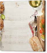 Sandwich With Salmon, Cucumber, Cream Cheese, Dill And Tomatoe Acrylic Print