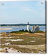 Sandy Neck Lighthouse With Fishing Boat Acrylic Print