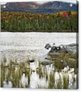 Sandy Stream Pond View Of Baxter Peak In Baxter State Park Maine Acrylic Print by Brendan Reals