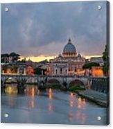 Sant Angelo Bridge At Dusk Acrylic Print