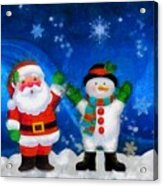 Santa And Frosty Painting Image With Canvased Texture Acrylic Print