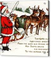 Santa And His Reindeer Greetings Merry Christmas Acrylic Print