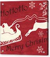 Santa And Reindeer Sleigh Acrylic Print