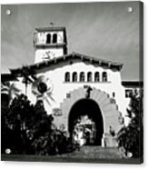 Santa Barbara Courthouse Black And White-by Linda Woods Acrylic Print