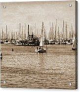 Santa Barbara Harbor Sepia Acrylic Print