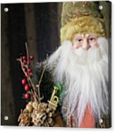 Santa Claus Doll In Green Suit With Forest Background. Acrylic Print