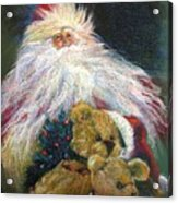 Santa Claus Riding Up Front With The Big Guy  Acrylic Print