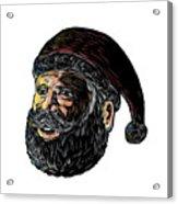 Santa Claus Three-quarter View Scratchboard Acrylic Print