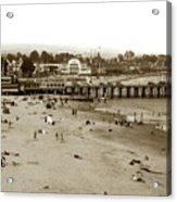 Santa Cruz Beach With Ideal Fish Restaurant 1930's Acrylic Print