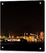Santa Cruz Boardwalk By Night Acrylic Print by Brendan Reals