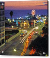 Santa Monica Ca Pacific Park Pier  Sunset Acrylic Print