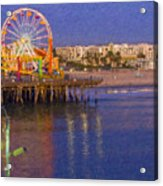 Santa Monica Pacific Park Pier And Lowes Hotel Acrylic Print