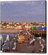Santa Monica Pacific Park Pier Skyline Panoramic Acrylic Print