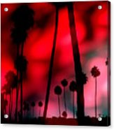 Santa Monica Palms Fiery Red Sunrise Silhouette Acrylic Print