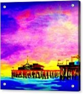 Santa Monica Pier A Night Acrylic Print