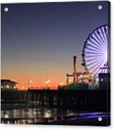 Santa Monica Pier At Sunset Acrylic Print