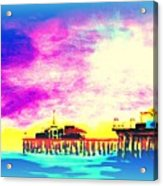 Santa Monica Pier In Blue Acrylic Print
