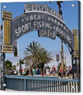 Santa Monica Yacht Harbor At Santa Monica Pier In Santa Monica California Dsc3669sq Acrylic Print