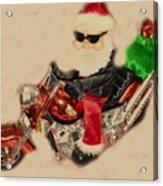 Santa On Motorcycle  Acrylic Print