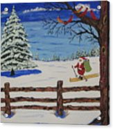 Santa On Skis Acrylic Print